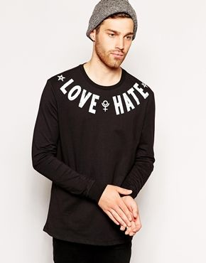 Enlarge ASOS Skater Long Sleeve T-Shirt With Love Hate Yoke Print