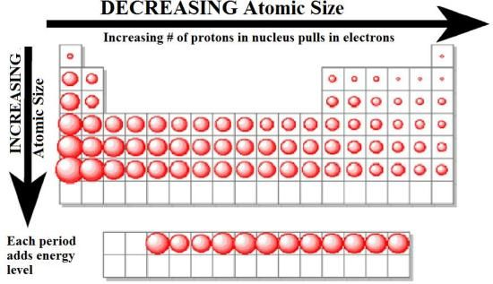 Atomic radius chemistry pinterest periodic table - Size of atoms in periodic table ...