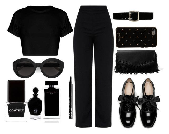 """ALL BLACK EVERYTHING"" by orianamarshall ❤ liked on Polyvore featuring Kate Spade, Iris & Ink, Express, Carla Zampatti, Context, EB Florals, Narciso Rodriguez and NYX"