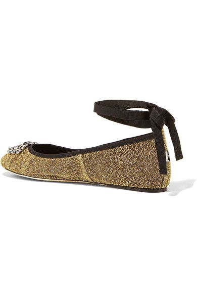 Jimmy Choo - Grace Crystal-embellished Textured-lamé Ballet Flats - Gold - IT