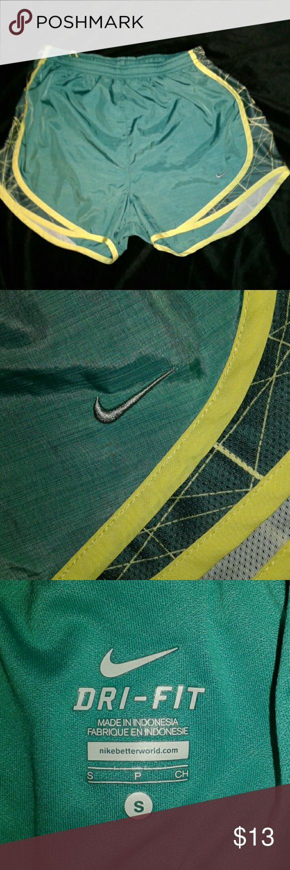 EUC condition Nike drifit shorts Excellent condition size small, green and neon yellow, Nike drifit shorts, no holes,snags or stains Nike Shorts