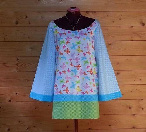 Tunique longue ou robe courte à manches longues motifs
