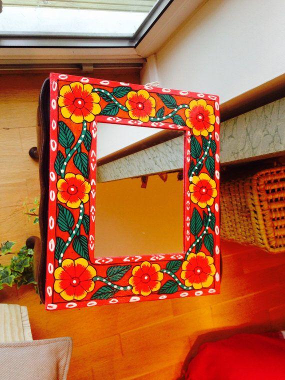 Handpainted mirror frame madhubani by TheFarEastArtStudio