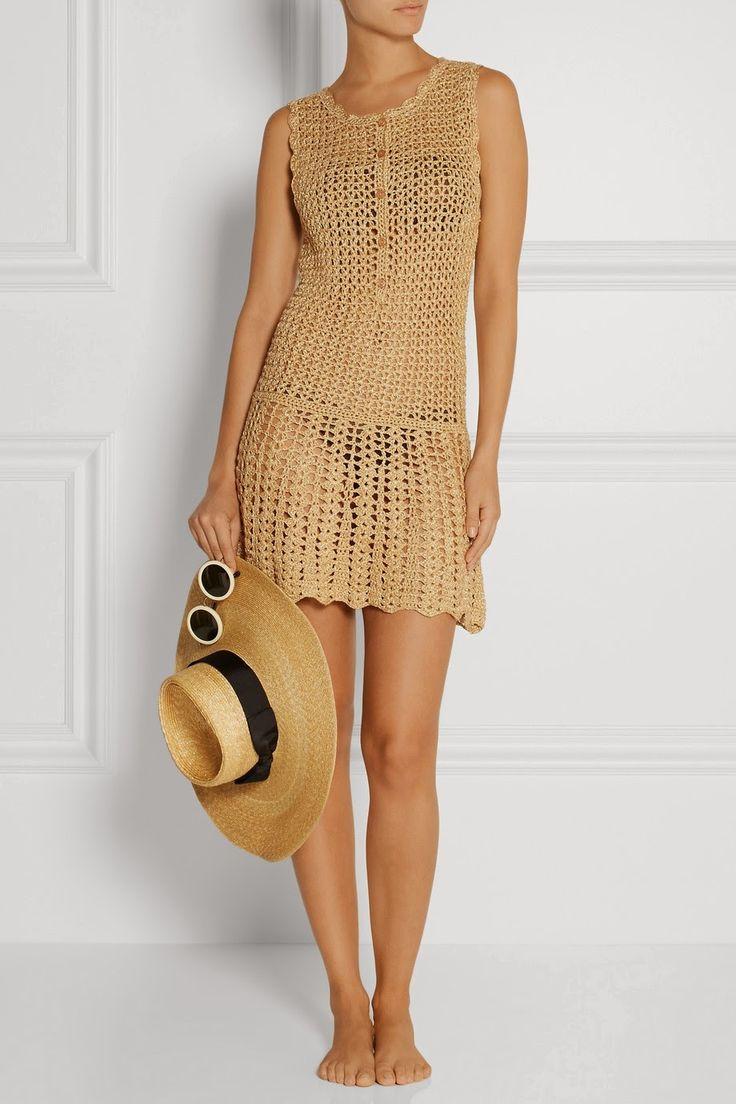 Vestido Bege de Crochet - Crochet e moda