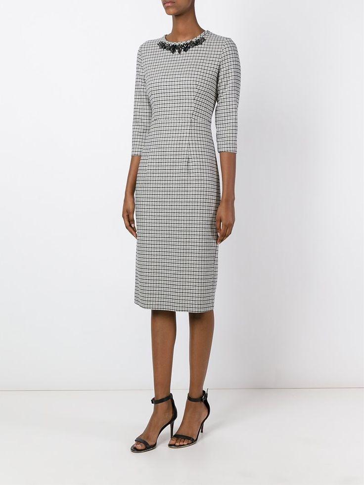 ¡Cómpralo ya!. P.A.R.O.S.H. Vestido A Cuadros. Vestido a cuadros en algodón y mezcla de lana gris de P.A.R.O.S.H.. , vestidoinformal, casual, informales, informal, day, kleidcasual, vestidoinformal, robeinformelle, vestitoinformale, día. Vestido informal  de mujer color gris de P.A.R.O.S.H..
