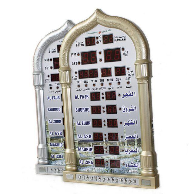 Mosque Azan Calendar Muslim Prayer Wall Clock Digital Azan Clock Led Prayer Clock Alarm Ramadan Decorative Clock Home Wall Clock Digital Prayer Wall Wall Clock