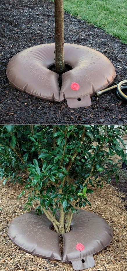This is such a great idea, and it works very well! I fill this bag up once a week (it drains overnight and is usually low or empty the next day) and it waters slowly, so the water gets into the soil deep, rather than just running off (as it did when I tried to use a sprinkler to water the tree). It's easy to fill (just shove a hose in the red filler hole), and I have had no problems with the emitters (there are two of them on the underside) getting clogged or anything.....