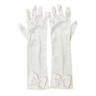 Flower Girl's Satin vingertoppen pols lengte bruiloft handschoenen Met Boog – EUR € 6.35