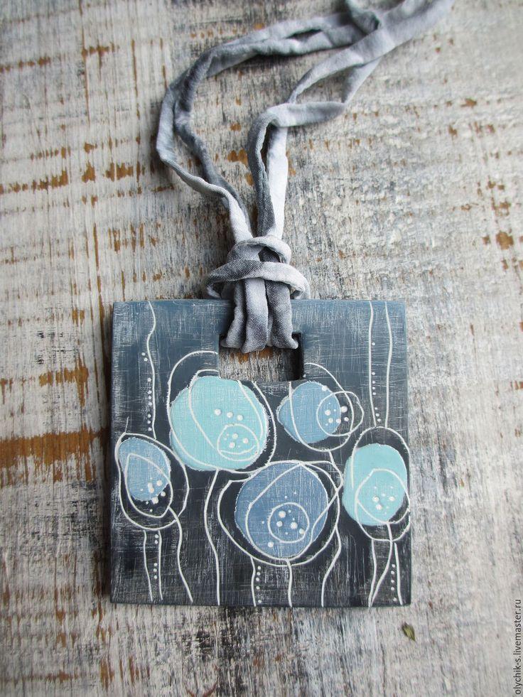 """Купить Кулон из полимерной глины """"Ночной сад"""" - голубой, полимерная глина, пластика, ручная работа"""