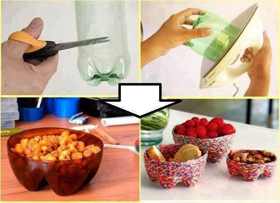 Turn soda bottles into little serving bowls!