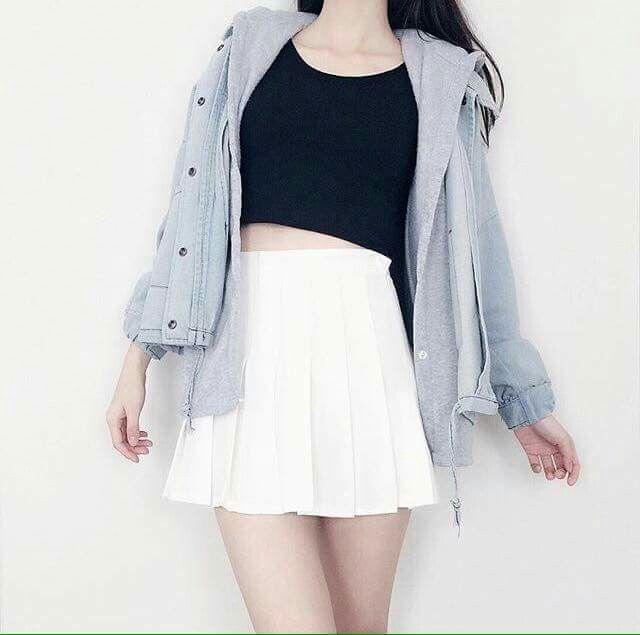 korean fashion white tennis skirt black jacket blue debim #tennisskirt