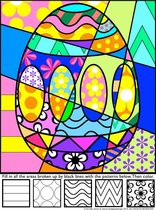 """Students add bold patterns to my """"pop art"""" Easter designs and then color their pictures to produce a fun, eye-catching, """"Pop Art""""-styled Easter picture!"""
