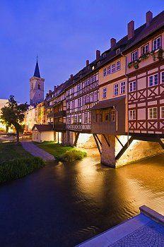 Krämerbrücke at Night, Erfurt, Thuringia, Germany #thueringen #thueringenentdecken #wanderlust
