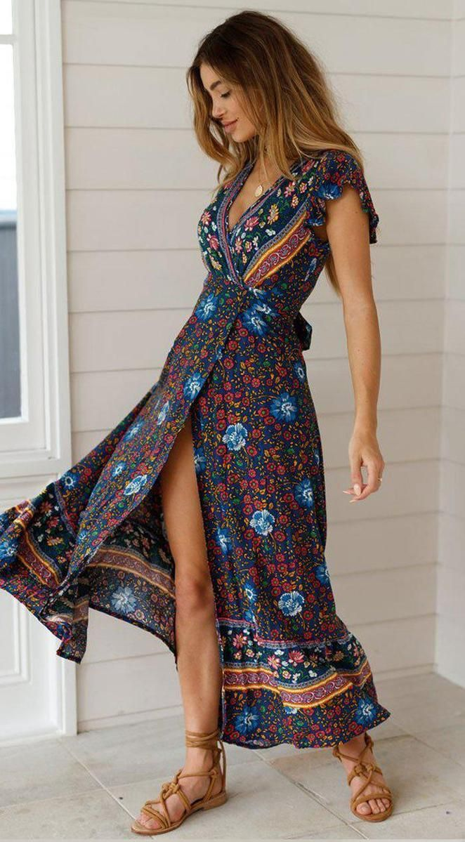Short Sleeve Boho Floral High Split Maxi Dress Boho Maxi Dress Summer Dresses Boho Summer Dresses [ 1199 x 662 Pixel ]