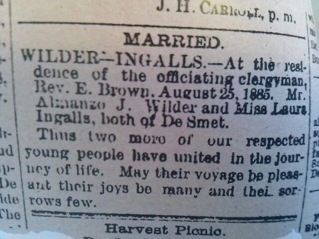 Laura and Almanzo Marriage announcement in De Smet newspaper