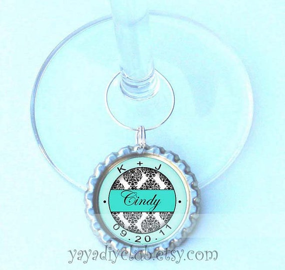 Personalized Wedding Wine Glass Charms : ... Wine Glass Charms on Pinterest Personalized wedding, Set of and Wine