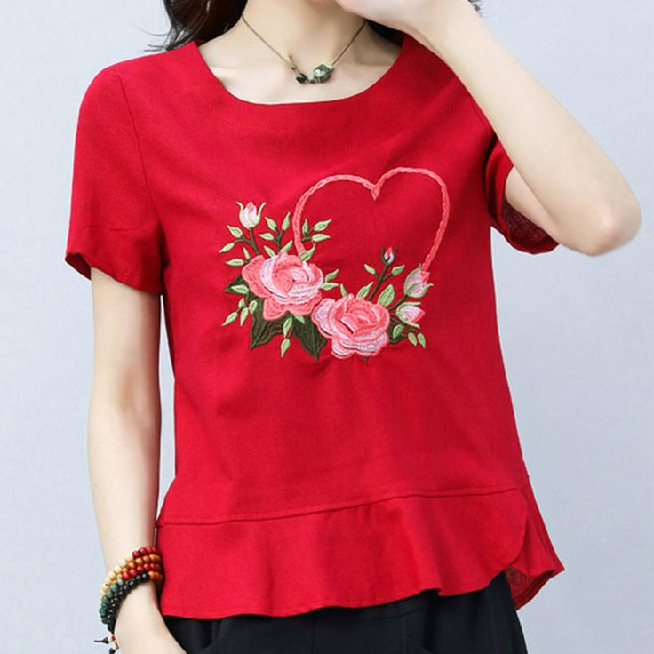 >> Click to Buy << KYMAKUTU Flower Embroidery Tops Female O Neck Short Sleeve Elegant Linen Tshirt All Match New Summer T Shirts for Women Clothing #Affiliate