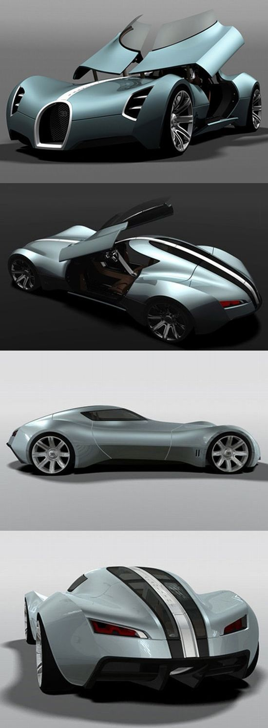 ♂ Concept car Bugatti Aerolithe opens the doors upwards to lift the dashboard ❤…