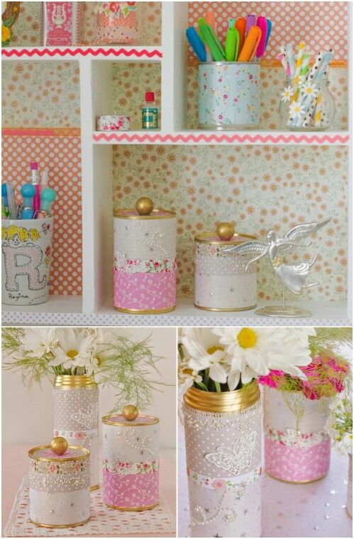 Beautiful Upcycled Tin Cans with Lids