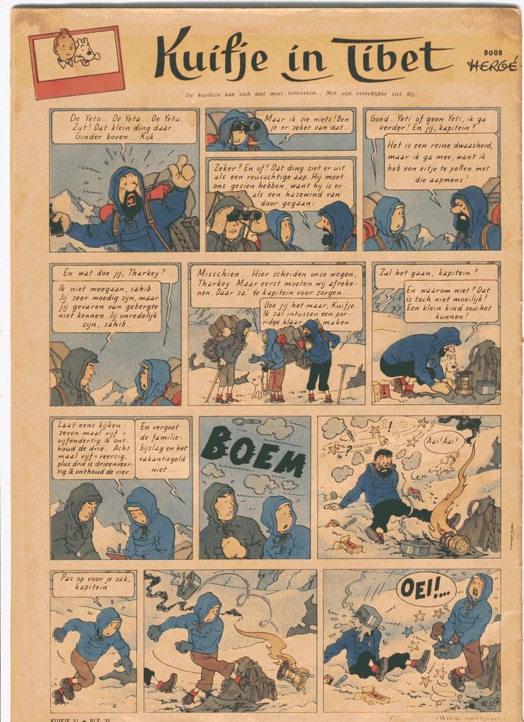 Kuifje weekblad voorpubliceerde in 1959 het album Kuifje in Tibet. Deze plaat verscheen minus de onderste strook in het album! ©Le Lombard/Casterman/Tintin