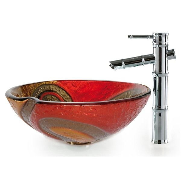 Kraus C-GV-620-17mm-1300SN Copper Snake Vessel Bamboo Faucet Combo Glass Sink