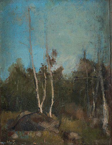 """323. HELENE SCHJERFBECK, """"Landskap med björkar""""."""