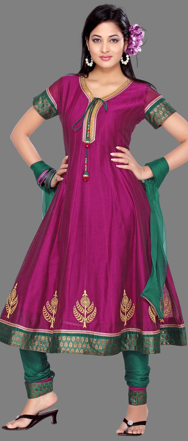 #Magenta Chanderi #Silk Churidar Kameez @ $75.48