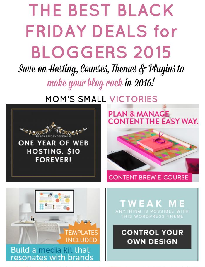 The Best Black Friday Deals for Bloggers 2015. Save money on hosting, blogging courses, themes & plugins to make your blog rock in 2016!