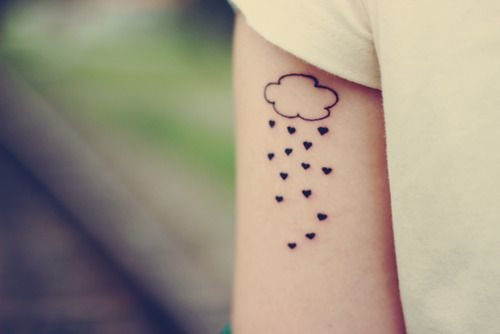 Little rain cloud tattoo with a little owl and yellow umbrella
