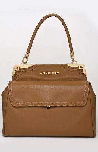 Love Moschino bag Brown-camel bag with ouuter zipper pocket, inner pocket, metal gold details. 34 cm width at the bottom. 100%LEATHER Code: JC4102PP1JLP0