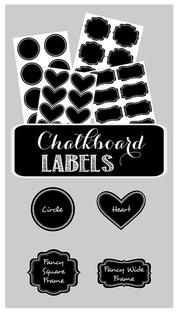 24 Chalkboard Labels for Mason Jars - Vinyl Chalkboard Labels - Small Chalkboard Labels - Mini Chalkboard Labels - Blackboard Stickers $7.00