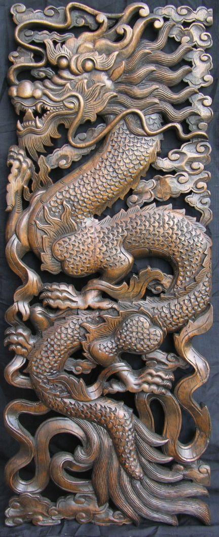 Carved teak serpentile dragon