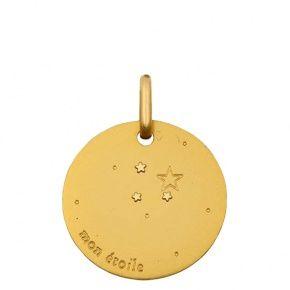 Médaille de bapteme en or, Medaille ronde Mon étoile : Maison La Couronne
