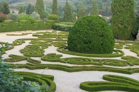 Arbustos, jardín con decorativos setos de boj
