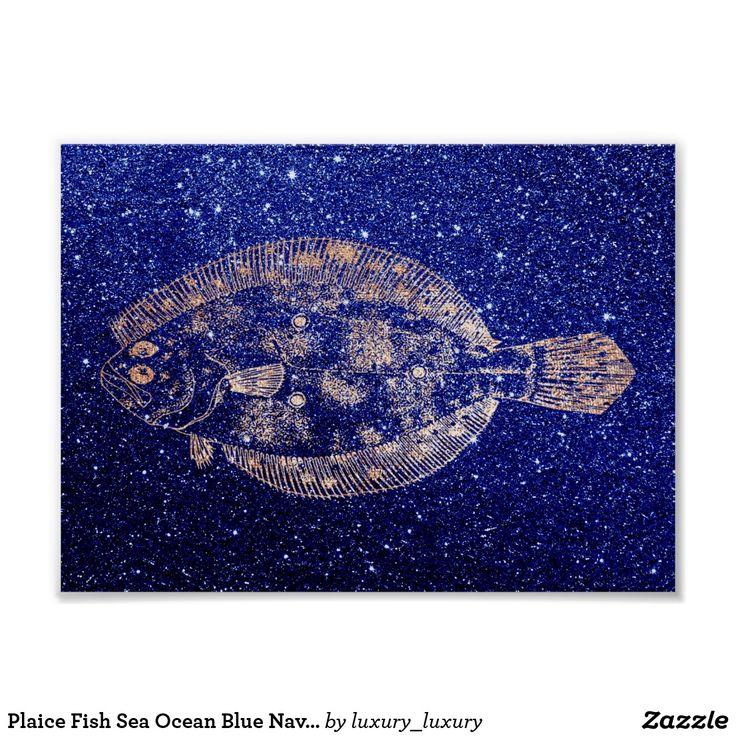 Plaice Fish Sea Ocean Blue Navy Rose Gold