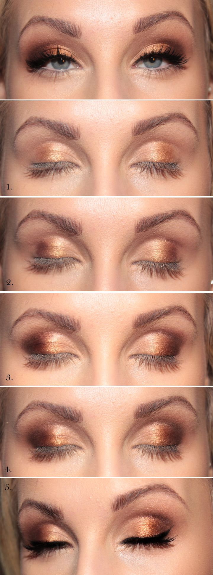 Gold gold gold!   - But less copper colored and more brown! It's so pretty....it doesn't hurt that she already has gorgeous eyes lol