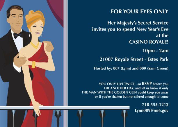 Wording for James Bond Birthday Invitation – Casino Royale Party Invitations