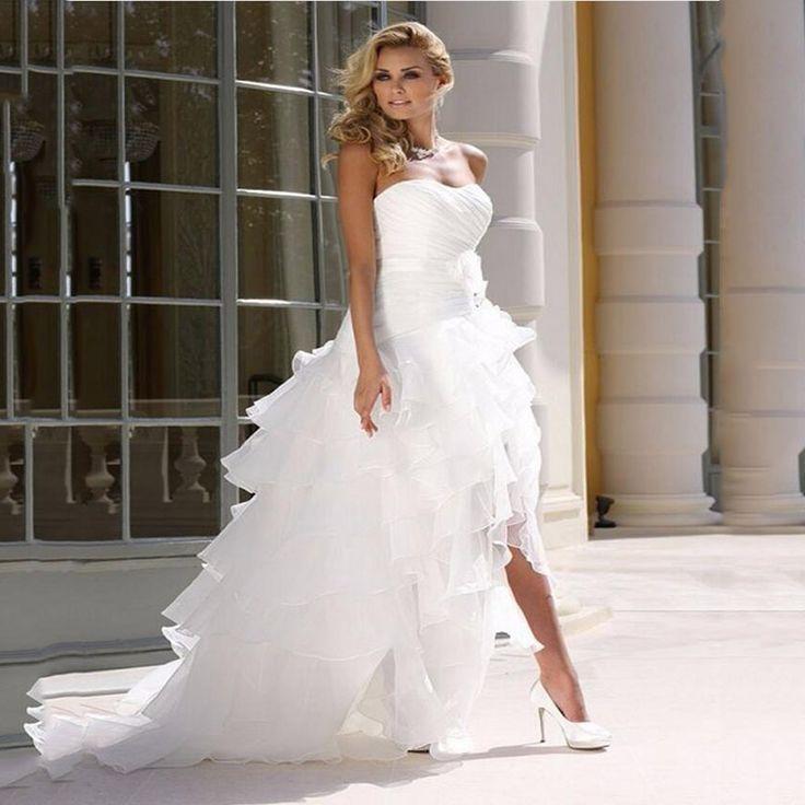 БУ Сексуальный Без Бретелек Высокий Низкий Белое Свадебное Платье Многоуровневое Оборками Открытой Спиной Складки Цветок Суд Поезд Свадебное Платье