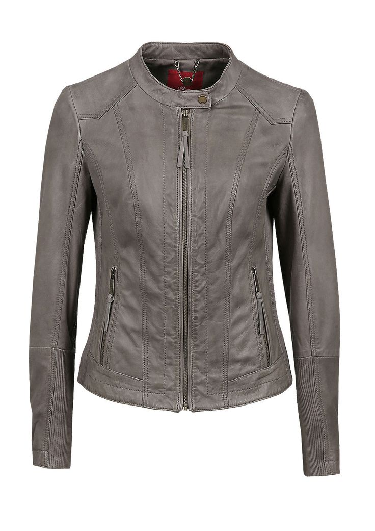 Biker-style leather jacket from s.Oliver. Discover the latest fashions online for women, men and kids and order with free delivery.