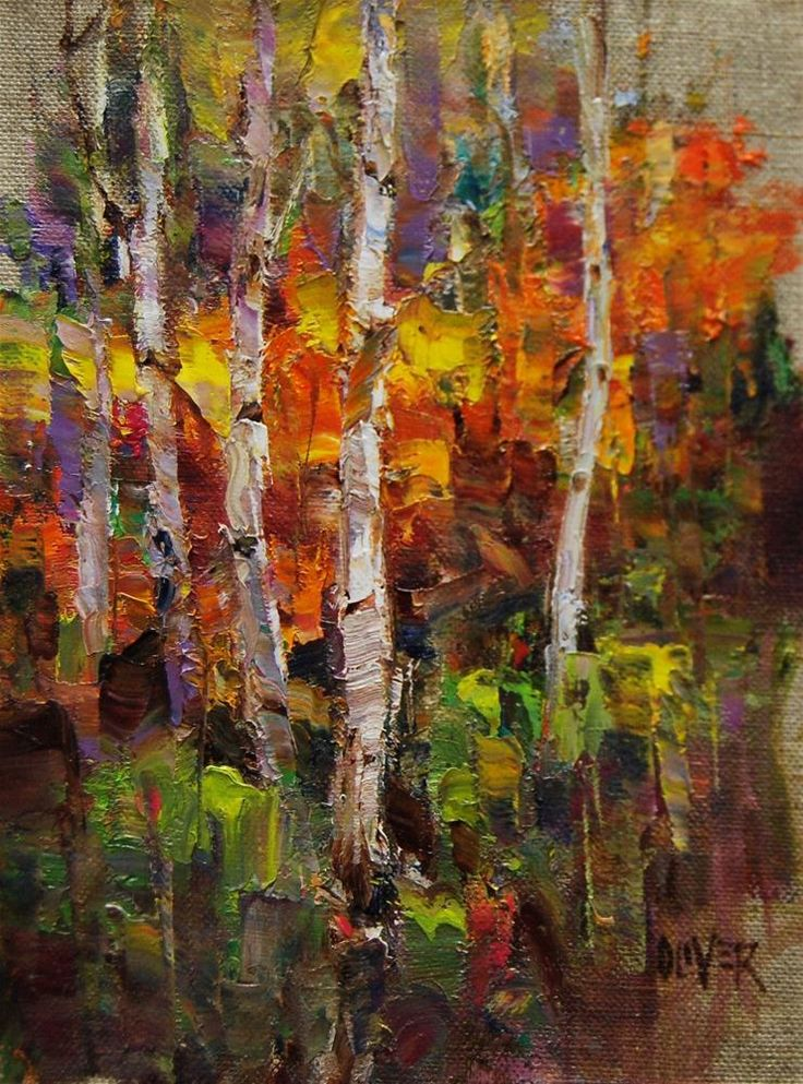 The Problem Birch Trees original fine art by Julie Ford Oliver