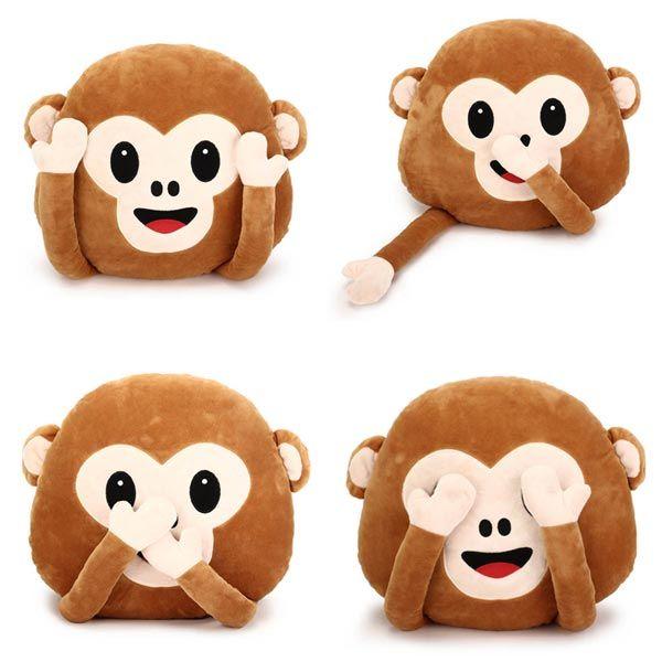 35 centímetros macaco emoji criativo com as mãos throw travesseiro de pelúcia almofada home office decoração do sofá
