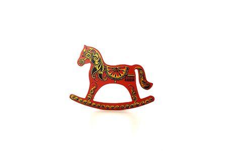 """Лошадка-качалка """"Красная"""" хохлома с ручной художественной росписью, арт.6070"""