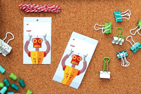 Cute 'Gift Giver 3000' Gift Tags by StationeryBike on Etsy