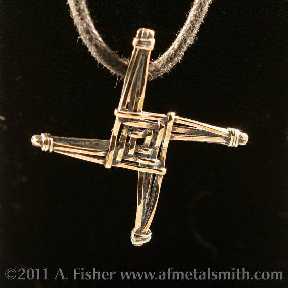 Bronze St Brigid's Cross Pendant cast by AFMetalsmith on Etsy, $38.00