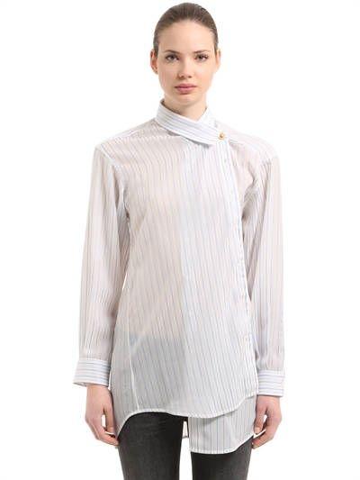 546d8651 BALENCIAGA, Pulled pinstripe jacquard shirt, White/blue, Luisaviaroma - Asymmetrical  collar. Wrap style with metal button closure . Button cuffs. Sheer .