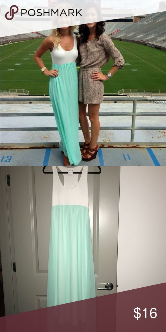White and Mint Maxi dress White and mint maxi dress with white cotton top and sheer mint bottom. There is a white lining under the mint so no concerns that it is see through. Perfect for a cruise, happy hour or a fun day with your girlfriends! NYMPHE Dresses Maxi