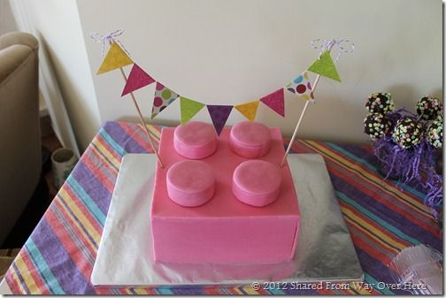 Lego Friends party on a budget. Cake would be cute with different colors layered in the middle.