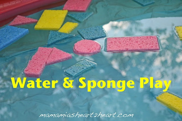 Water & Sponge Play:  Simple water fun for the kids
