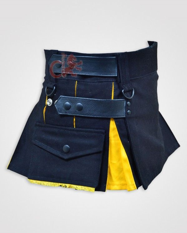 Deluxe Black and Yellow Hybrid Kilt for GirlsThis Deluxe Black and Yellow Hybrid Kilt for Girls /skirts is made just for the ladies and can be worn for any casual occasion or even for work. Because this utility kilt Modern Hybrid Kilt is designed and cut especially for women, it flatters the curves and has a perfect fit that you just can't achieve from wearing a men's kilt design.  http://dkilts.com/product/deluxe-black-and-yellow-hybrid-kilt-for-girls/