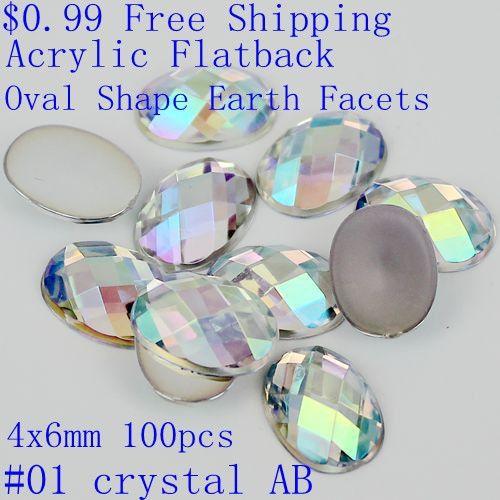 100 pcs 4x6mm Colorful Acrylic Rhinestones Pipih Oval Bentuk Bumi Aspek AB Warna Lem Pada Resin Beads DIY Nail Art Dekorasi